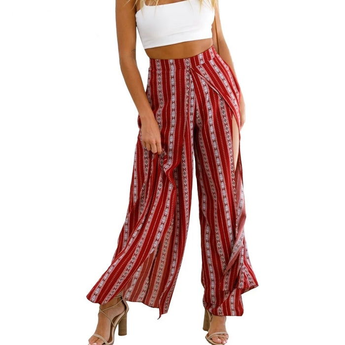 Bohemian Striped Wide Pants