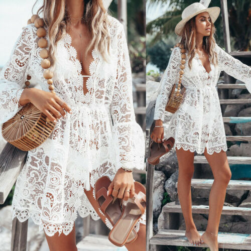 Boho V-Neck Lace Summer Dress
