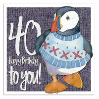 40 Happy Birthday To You! Woolly Puffin Happy Birthday Card - Emma Ball