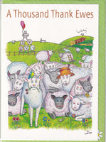 A Thousand Thank Ewes Sheep Greetings Card - The Compost Heap