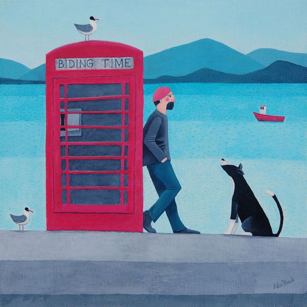Man And Dog Biding Time By The Coast Greetings Card - Ailsa Black