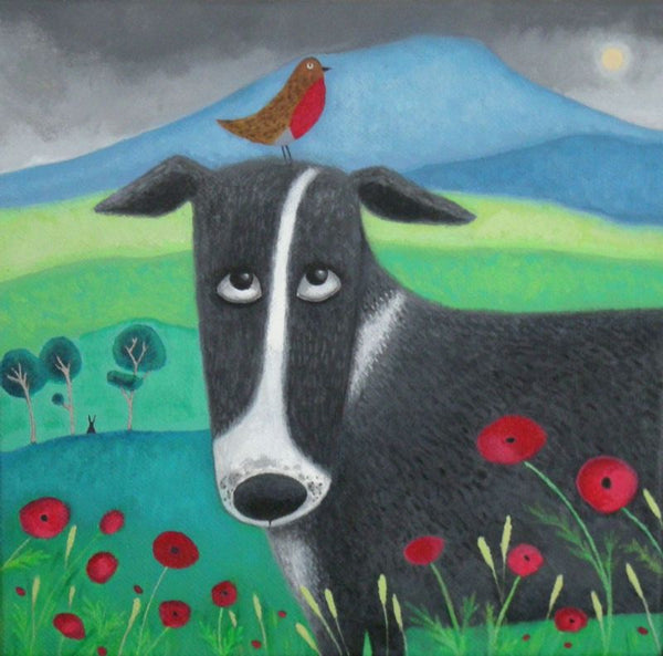 Bird On The Bonce Border Collie Dog With Robin Greetings Card - Ailsa Black