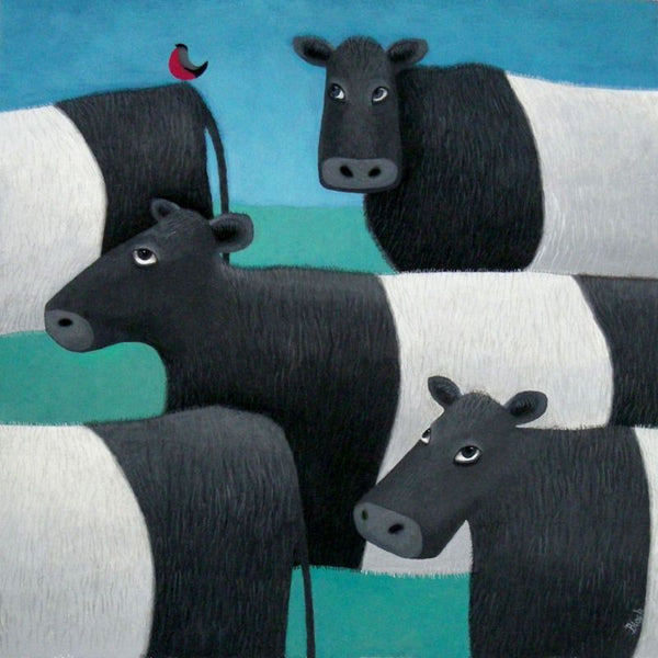 Belted Galloway Cows Bird On Your Bahookie Greetings Card - Ailsa Black
