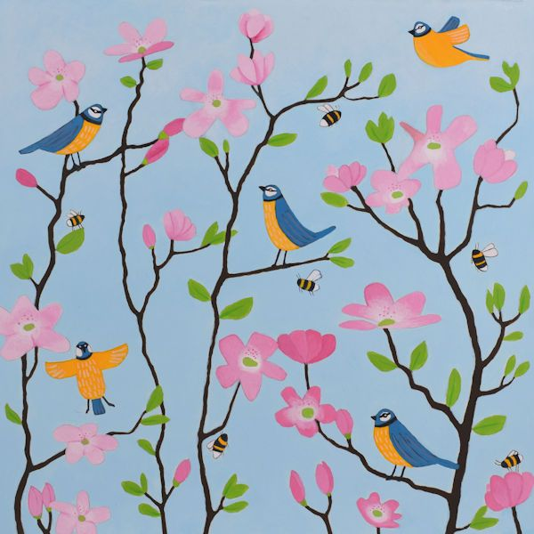 Bluetit Birds And Blossoms Greetings Card - Ailsa Black