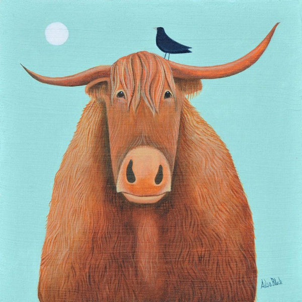 Broon Coo Cow Greetings Card - Ailsa Black
