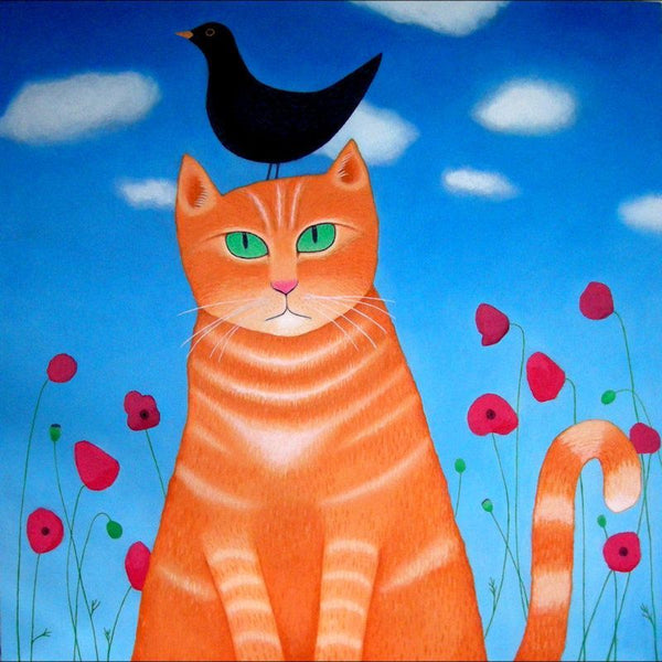 Cat With Burd, Whit Burd? Greetings Card - Ailsa Black