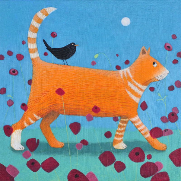 Day Tripper Cat And Blackbird Greetings Card - Ailsa Black