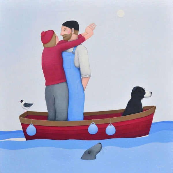 Lovers And Their Collie Dog In A Boat Greetings Card - Ailsa Black