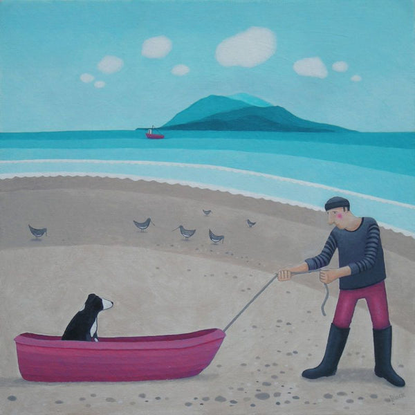 Follow My Master On The Beach Greetings Card - Ailsa Black