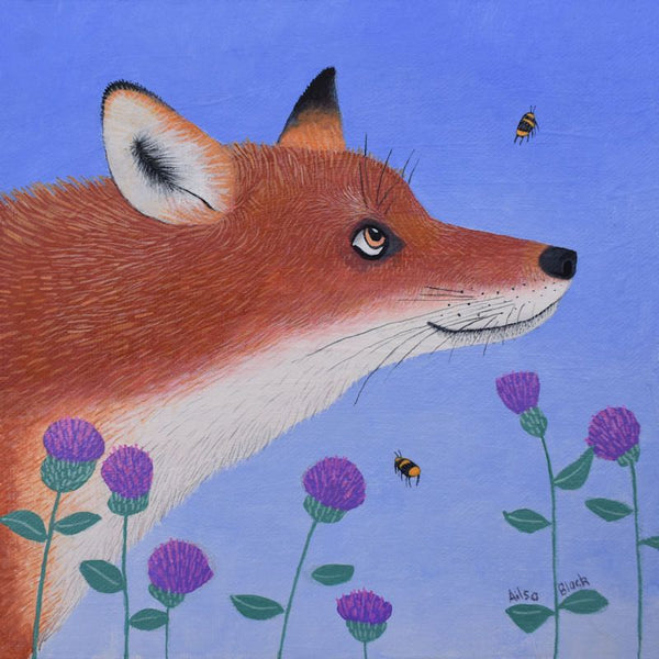 Fox Watching A Bee Greetings Card - Ailsa Black