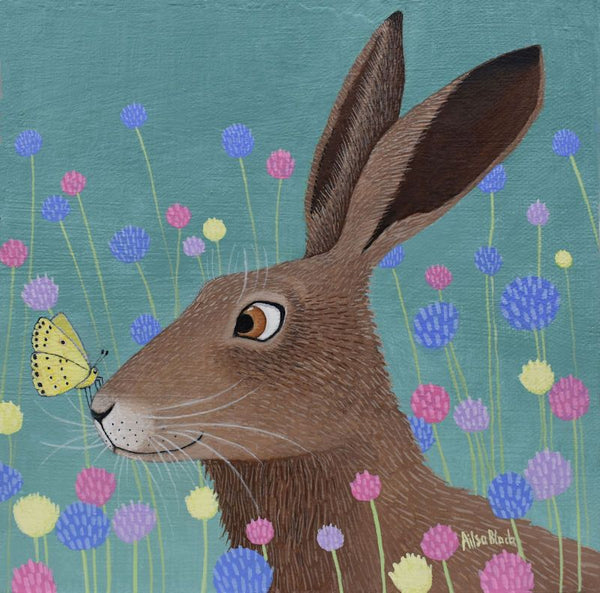 Hare Resting Place Greetings Card - Ailsa Black
