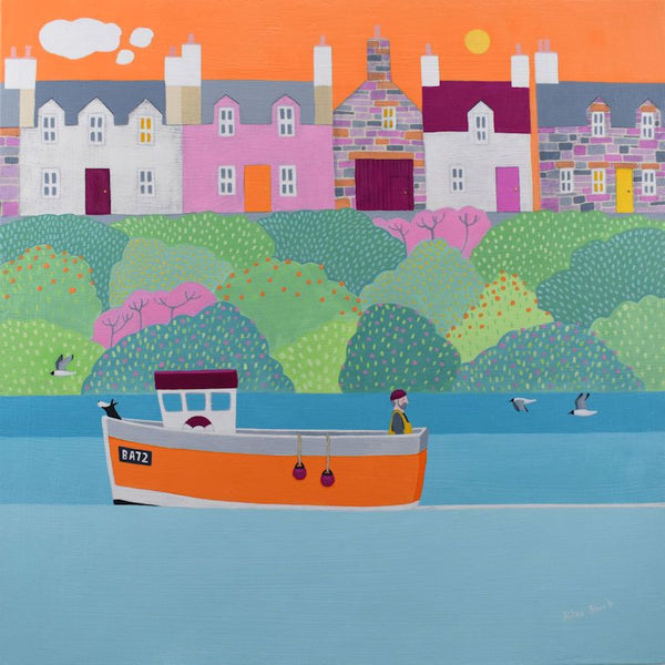 High Hopes For A Fishing Boat Greetings Card - Ailsa Black