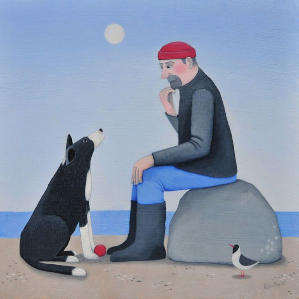Collie Dog And Man The Great Debate Greetings Card - Ailsa Black
