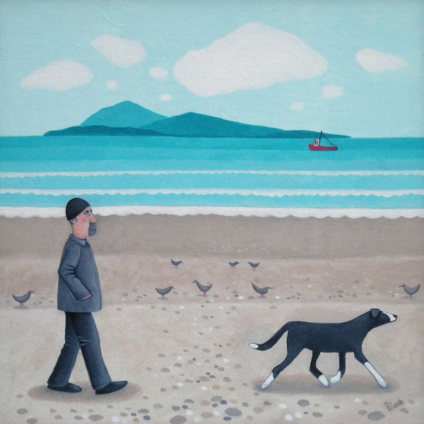 Man And Dog Walking On The Beach Greetings Card - Ailsa Black