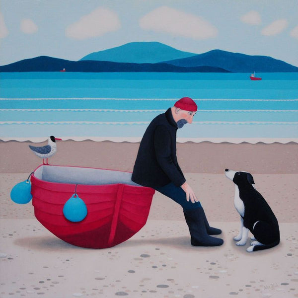 Pep Talk Man, Dog And Boat Greetings Card - Ailsa Black