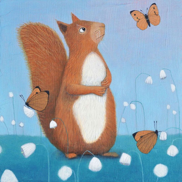 Red Squirrel Greetings Card - Ailsa Black