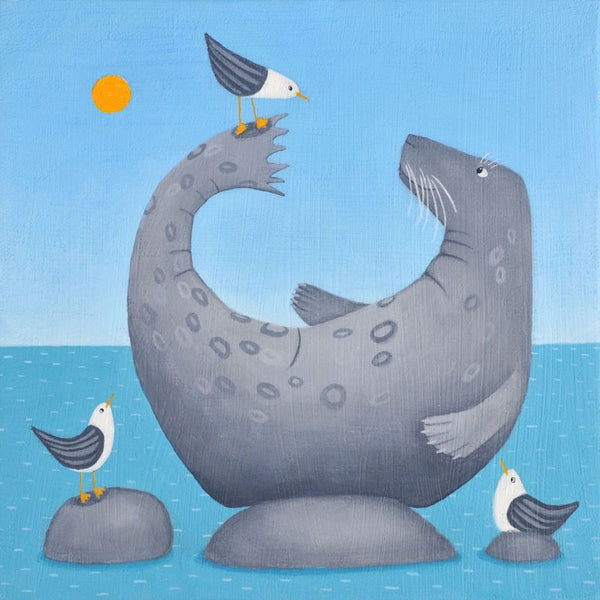 Seal And Seagulls Greetings Card - Ailsa Black