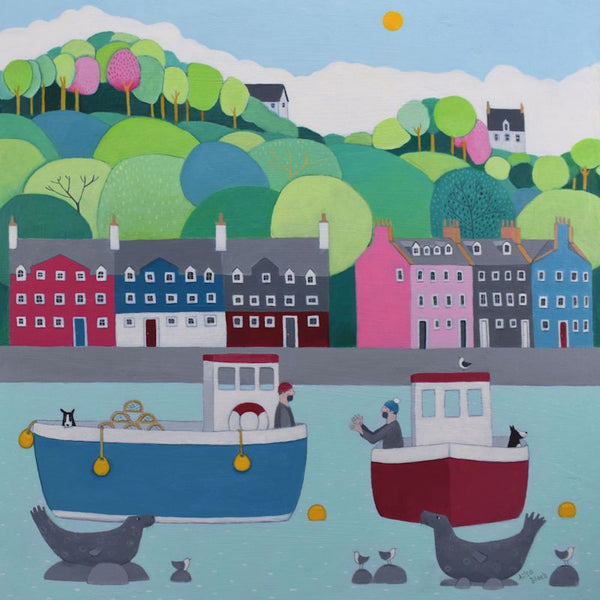 Fishing Boats The One That Got Away Greetings Card - Ailsa Black