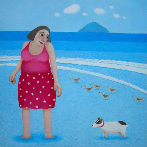The Reluctant Paddler Lady And Jack Russell Greetings Card - Ailsa Black