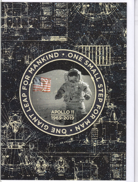 Apollo 11 Moon Landing 50th Anniversary 1969 - 2019 Greetings Card patch dark
