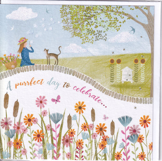 A Purrfect Day To Celebrate Your Birthday! Glitter Greetings Card - Nigel Quiney