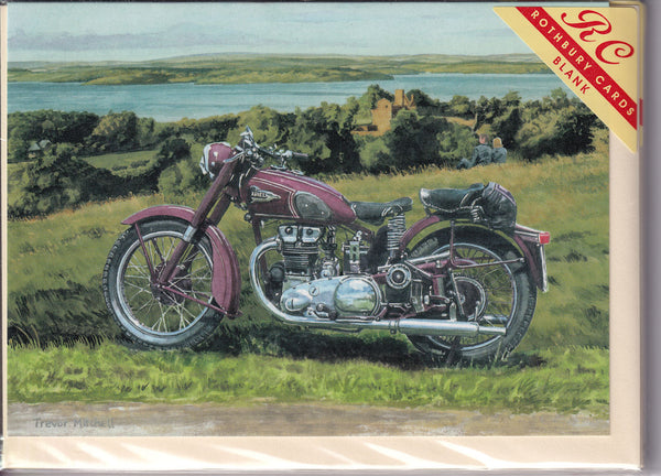 Ariel Motorcycle At Lough Erne Greetings Card - Trevor Mitchell