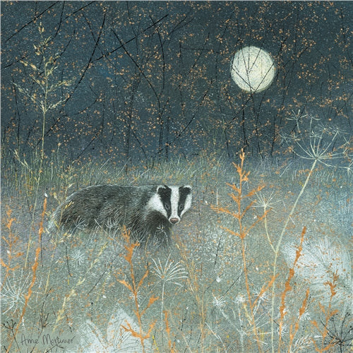 Badger By Moonlight Greetings Card - Anne Mortimer