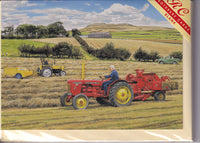 Baling Hay With David Brown Tractor Greetings Card - Trevor Mitchell