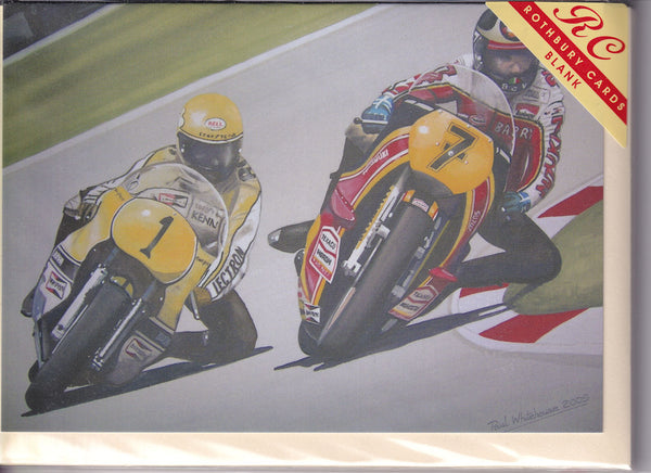 Barry Sheene V Roberts Greetings Card - Paul Whitehouse
