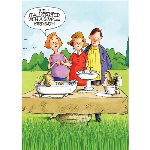Bird Bath Greetings Card - Gardeners Weakly