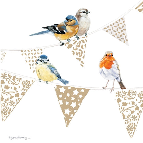 Birds On Bunting Greetings Card - Pollyanna Pickering