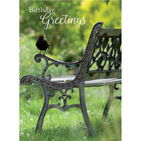 Blackbird Sitting On A Garden Bench Birthday Card