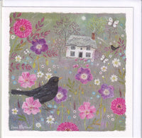 Blackbird And Thatched Cottage Greetings Card - Anne Mortimer