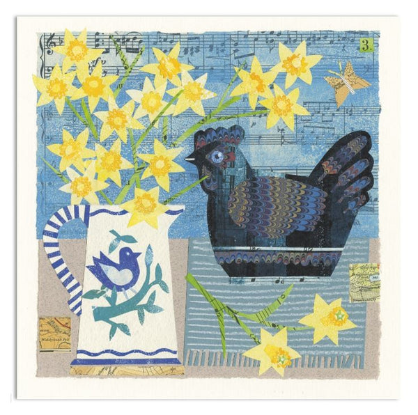 Blue China Hen Greetings Card - Susie Lacome