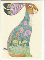 Blue Hare Greetings Card - Daniel Mackie