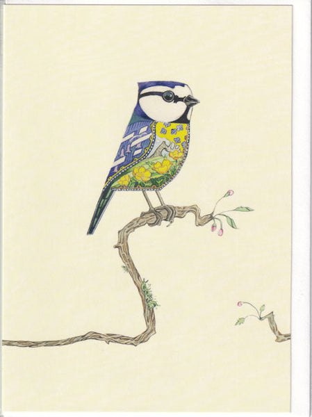 Blue Tit Bird Greetings Card - Daniel Mackie