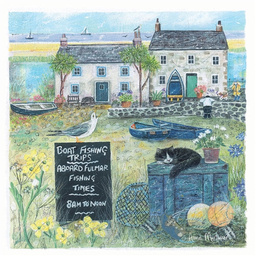 Boat Fishing Trips Seaside Charm Greetings Card - Anne Mortimer
