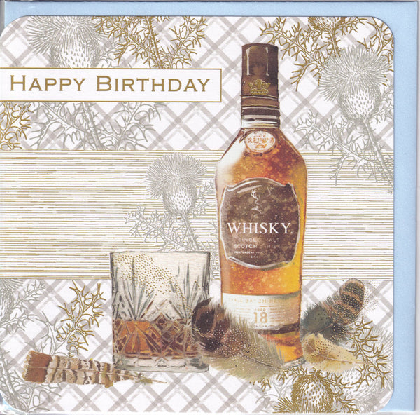 Bottle Of Scotch Whisky Happy Birthday Card - Nigel Quiney