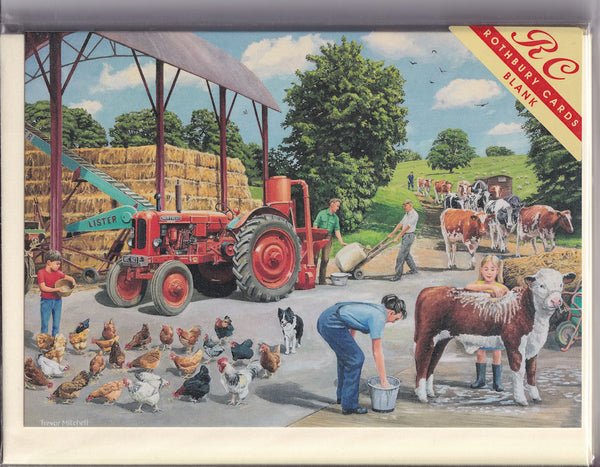 Busy Farmyard Greetings Card - Trevor Mitchell