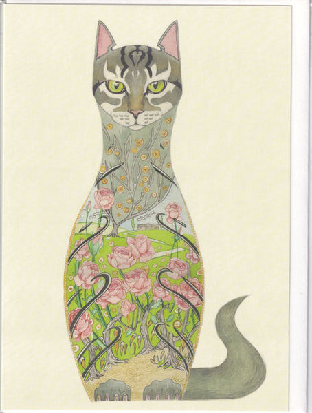 Cat In A Rose Garden Greetings Card - Daniel Mackie