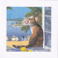 Cat Summer Breeze Greetings Card - Chrissie Snelling