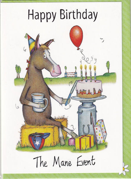 Happy Birthday The Mane Event Greetings Card - The Compost Heap