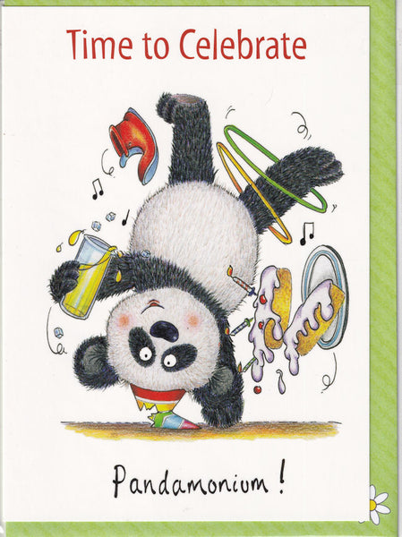 Time To Celebrate Pandamonium! Greetings Card - The Compost Heap