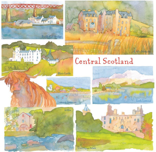 Central Scotland Watercolour Greetings Card - Emma Ball