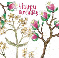 Happy Birthday Cherry Blossom Flowers Greetings Card - Caroline Cleave