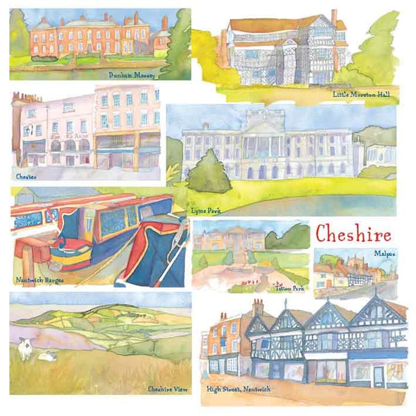 Cheshire Watercolour Greetings Card - Emma Ball