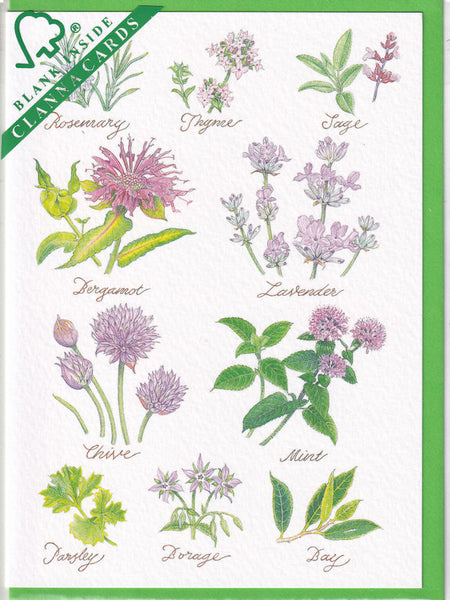Herb Flowers Greetings Card - Richard Partis For Clanna Cards