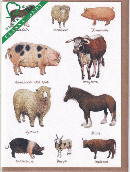 Farm Rare Breeds Of Animals Greetings Card - Richard Partis For Clanna Cards
