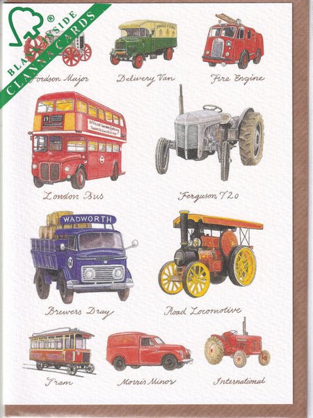 Vintage Motor Vehicles Greetings Card - Richard Partis For Clanna Cards