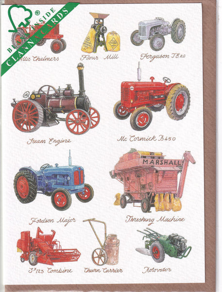 Vintage Tractors Greetings Card - Richard Partis For Clanna Cards